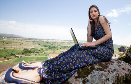 woman meditating in nature Banco de Imagens