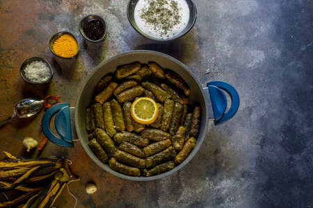 Stuffed grape leaves, a traditional Anatolian dish Banco de Imagens