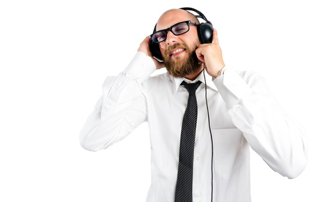 Businessman enjoying music photo