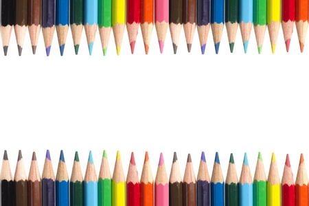 Color pencils Frame on White Background photo