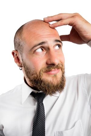 pressure loss: Feeling migraine headache Stock Photo