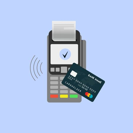 Isometric Pos terminal confirms the payment by debit credit card. Vector illustration in flat design. nfc payments concept