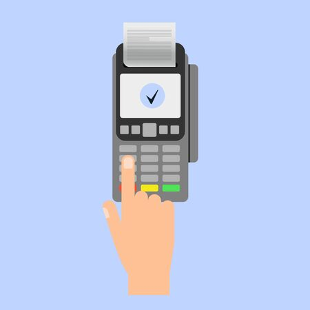 Hand inserting credit card to a POS terminal. Payment terminal . Flat design vector.