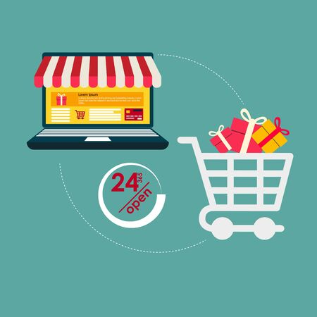 Shopping Online on Website or Mobile Application Vector Concept Marketing and Digital marketing. Horizontal view. VECTOR