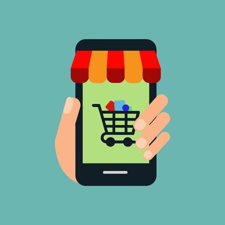 Shopping Online on Website or Mobile Application Vector Concept Marketing and Digital marketing. Horizontal view.