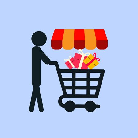 Shopping cart with people who buy the need from the store