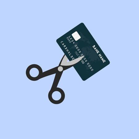 Cutting credit card with scissors Ilustracja