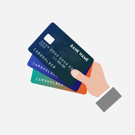 Man is holding credit card in hand, vector teamwork