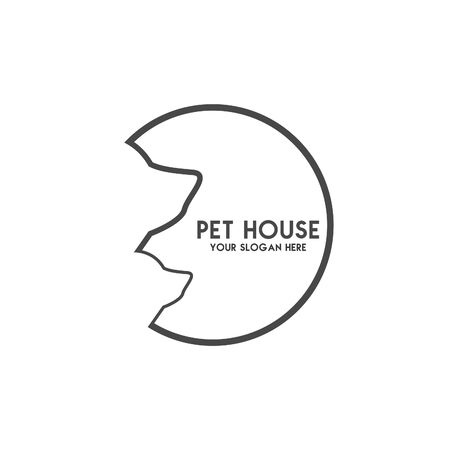 Pet House Logos (Cat, Dog, Birds) Vector Banque d'images - 130118815