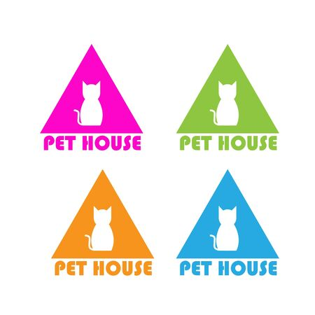 Pet House Logos (Cat, Dog, Birds) Vector Banque d'images - 130118816
