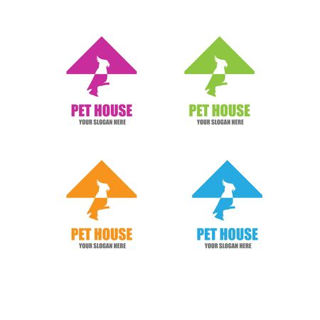 Pet House Logos (Cat, Dog, Birds) Vector 向量圖像