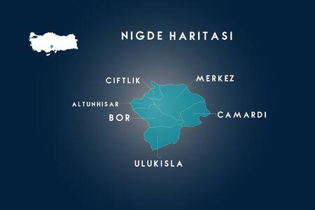Nigde districts Altunhisar, Bor, Camardi, Ciftlik(Ozyurt), Ulukisla map, Turkey