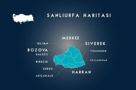 Sanliurfa districts hilvan, halfeti, bozova, suruc, akcakale, harran, viransehir, ceylanpinar, siverek map, Turkey