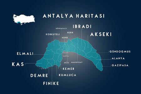 Antalya districts Dosemealti, Korkuteli, Kepez, Serik, Ä°bradi, Akseki, Gundogmus, Alanya, Gazipasa, Konyalalti, Muratpasa, Aksu, Manavgat, Kemer, Kumluca, Finike, Demre, Kas, Elmali map, Turkey