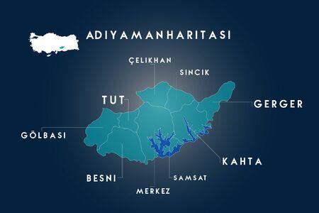 Adiyaman districts Besni, Celikhan, Gerger, Golbasi, Kahta, Samsat, Sincik, Tut map, Turkey