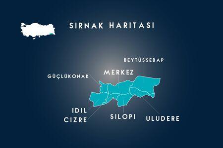 Sirnak districts guclukonak, idil, cizre, silopi, uludere, beytussebap map, Turkey