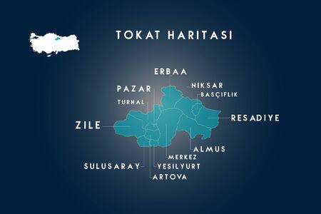 Tokat districts erbaa, pazar, turhal, zile, sulusaray, artova, yesilyurt, almus, resadiye, basciftlik, niksar map, Turkey