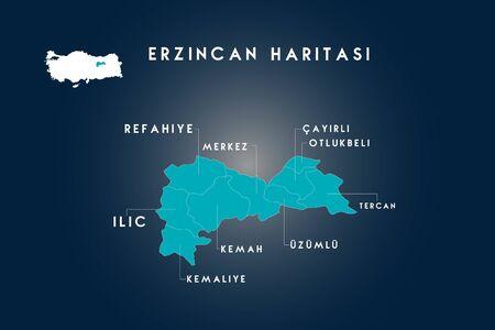 Erzincan districts refahiye, ilic, kemaliye, kemah, uzumlu, cayirli, otlukbeli, tercan map, Turkey