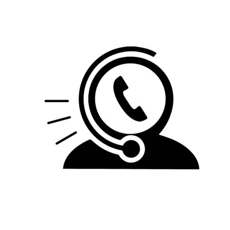 Call center operator with headset, Support Services, Online Support Center, Flat Designed Vector Illustration