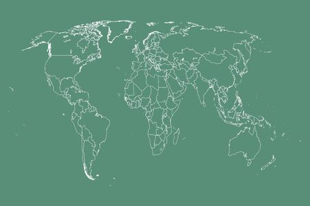 World flat earth map illustrated in white country outlines in green and white. Ilustrace