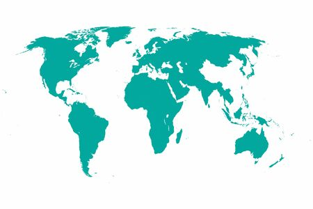 Illustrated world map in green and white.