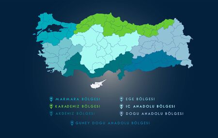 Regional Turkey Map Vector Work 向量圖像