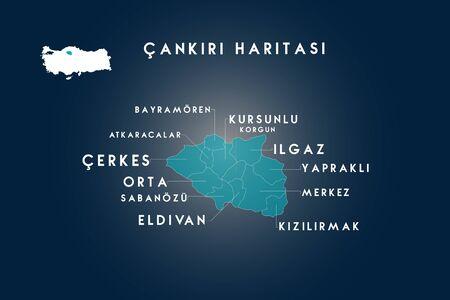 Cankiri districts bayramoren, atkaracalar, cerkes, orta, sabanozu, eldivan, kursunlu, korgun, ilgaz, yaprakli, kizilirmak map, Turkey
