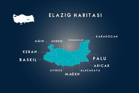 Elazig districts agin, baskil, keban, kovancilar, karakocan, palu, aricak, alacakaya, maden, sivrice map, Turkey