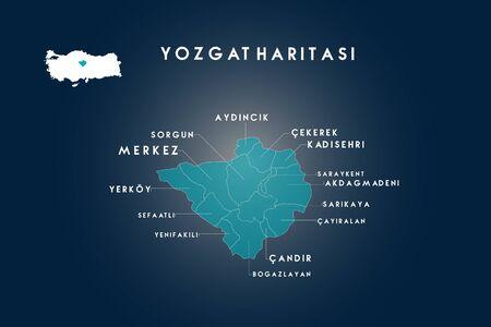 Yozgat districts aydincik, sorgun, yerkoy, sefaatli, yenifakili, candir, bogazlayan, cayiralan, sarikaya, akdagmadeni, saraykent, kadisehri, cekerek map, Turkey Ilustracja