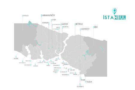 istanbul districts eyup, esenler, beykoz, uskudar, fatih, sile, kadikoy, maltepe, tuzla, bakirkoy, gaziosmanpasa, avcilar, esenyurt, buyukcekmece, silivri, beyoglu, zeytinburnu, adalar map, Turkey