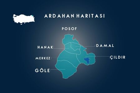 Ardahan districts Posof, Hanak, Damal, Cildir, Gole map, Turkey