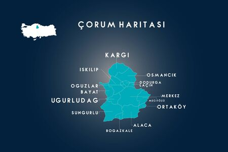 Corum districts iskilip, oguzlar, bayat, ugurludag, sungurlu, bogazkale, alaca, ortakoy, mecitozu, dodurga, lacin, osmancik, kargi map, Turkey