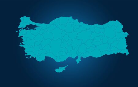 Turkey Vector Map of regional vector Green Color Study 向量圖像