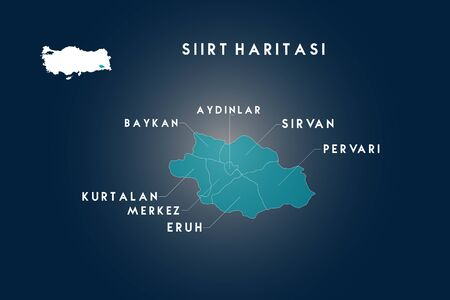 Siirt districts aydinlar, baykan, kurtalan, eruh, pervari, sirvan map, Turkey