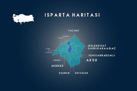 isparta districts, yalvac, gonen, senirkent, uluborlu, atabey, keciborlu, egirdir, sutculer, aksu, yenisarbademli, sakikaraagac, gelendost, map Turkey
