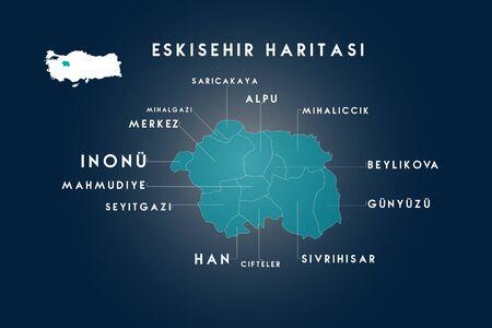 Eskisehir districts saricakaya, mihalgazi, inonu, mahmudiye, seyitgazi, han, cifteler, sivrihisar, gunyuzu, beylikova, mihaliccik, alpu map, Turkey 일러스트