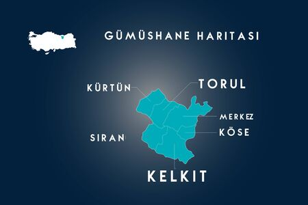 Gumushane districts kelkit, siran, kose, kurtun, torul map, Turkey 向量圖像