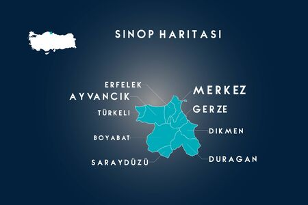 Sinop districts erfelek, boyabat, ayvancik, turkeli, sarayduzu, duragan, dikmen, gerze map, Turkey