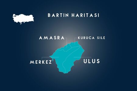 Bartin districts amasra, ulus, kuruca sile map, Turkey 向量圖像