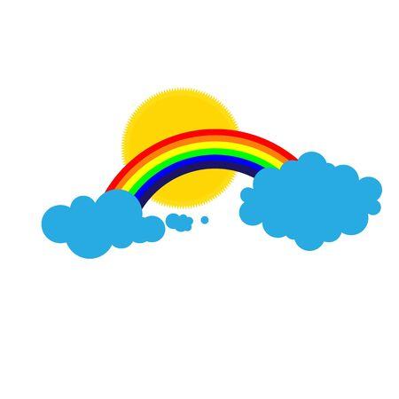 Rainbow work in cloudy weather vector