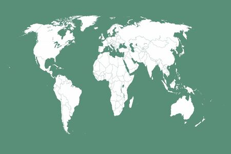 World flat earth country map illustrated in green and white. Illusztráció