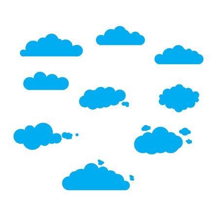 Cloudy Sky Set Vector Teamwork Ilustrace