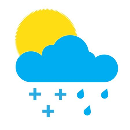 Sun appearing behind cloud, rain, plus