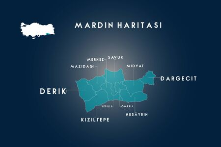 Mardin districts mazidagi, derik, savur, midyat, dargecit, nusaybin, omerli, yesilli, kiziltepe map, Turkey