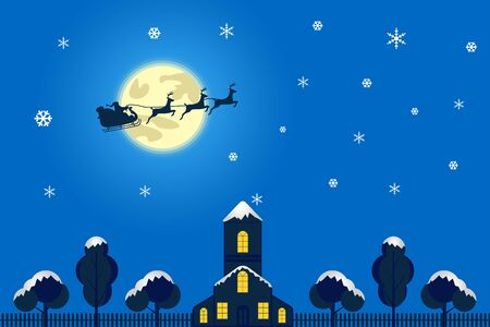 Merry Christmas and Happy New Year. Illustration of Santa Claus on the sky coming to City