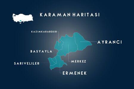 Karaman districts basyayla, ermenek, ayranci, sariveliler, kazimkarabekir map, Turkey