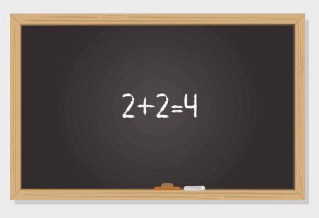 Concept of mathematical operation on chalkboard Фото со стока