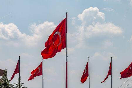 Turkish flags waving in Maltepe coast, April 30, 2019, Istanbul, Turkey 写真素材
