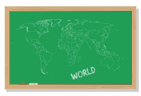 World map drawn in chalk on a green blackboard Vector work