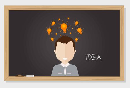 Man thinking of new ideas drawn on black blackboard vector work